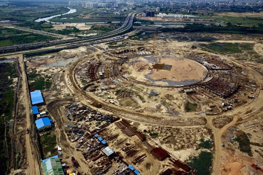 Aerial view of the International Cricket Stadium at Lucknow. Work in full progress.