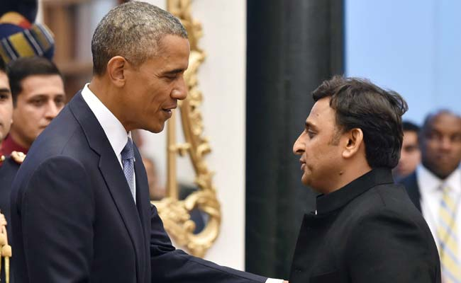 US President Barack Obama with Chief Minister Mr. Akhilesh Yadav