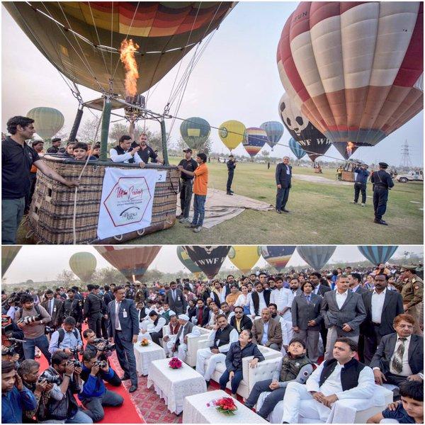 मुख्यमंत्री श्री अखिलेश यादव 14 फरवरी, 2016 को जनेश्वर मिश्र पार्क, लखनऊ में उत्तर प्रदेश पर्यटन दिवस के अवसर पर आयोजित कार्यक्रम का अवलोकन करते हुए।