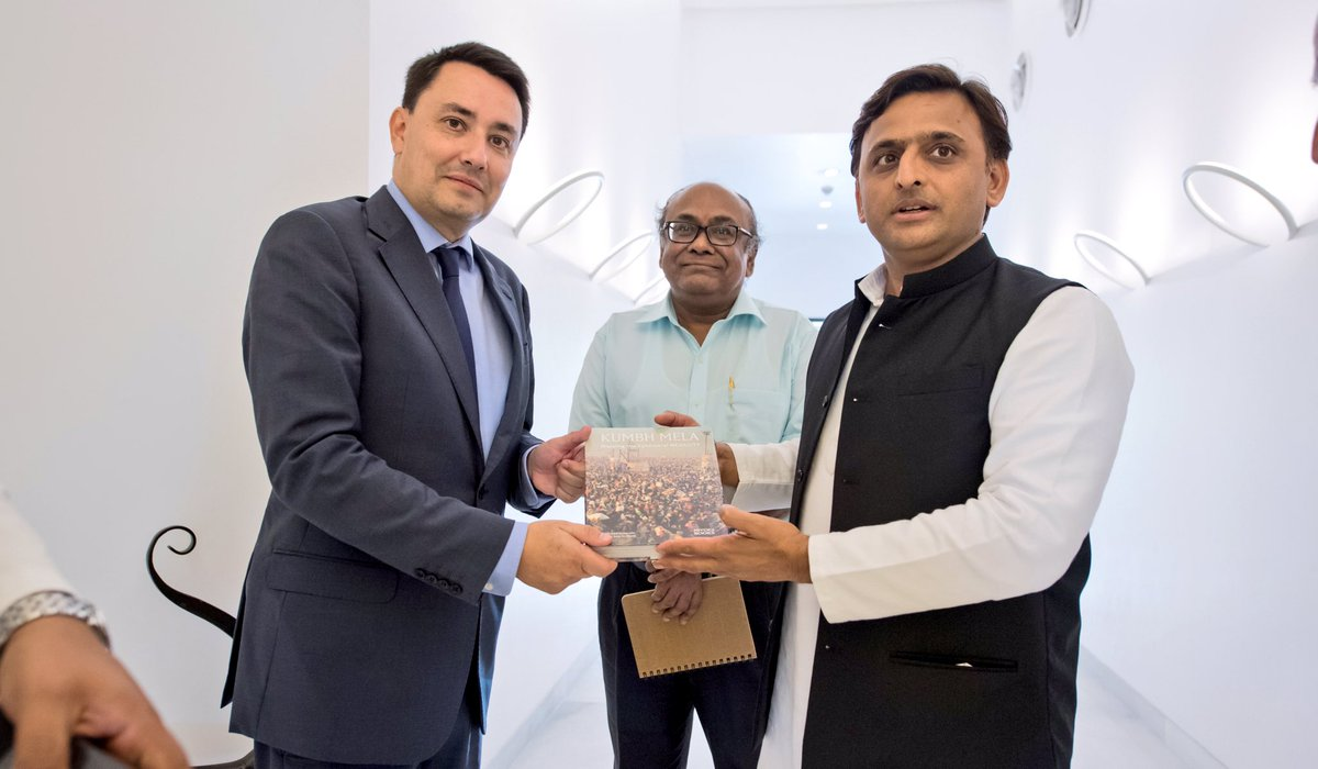 Chief Minister Akhilesh Yadav with H.E. Mr Alexandre Ziegler, Ambassador of France to India