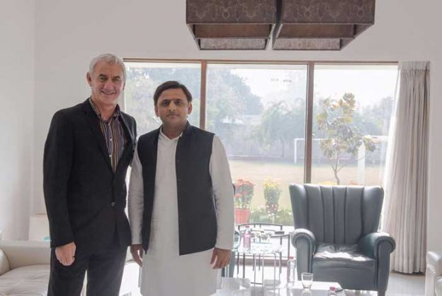 Chief Minister Akhilesh Yadav with football legend Ian Rush