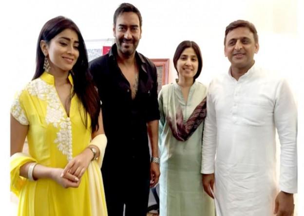 मुख्यमंत्री श्री अखिलेश यादव से 31 जुलाई, 2015 को उनके सरकारी आवास पर फिल्म अभिनेता श्री अजय देवगन तथा अभिनेत्री सुश्री श्रिया सरन ने मुलाकात की।