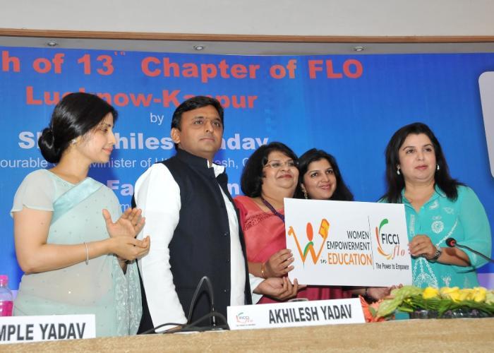 उत्तर प्रदेश के मुख्यमंत्री श्री अखिलेश यादव 11 अप्रैल, 2015 को लखनऊ में फिक्की लेडीज आर्गेनाइजेशन के लखनऊकानपुर चैप्टर के शुभारम्भ के अवसर पर।