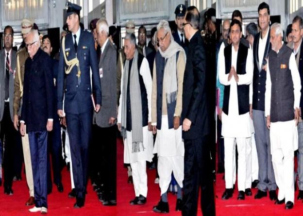 राज्यपाल श्री राम नाईक, विधान सभा अध्यक्ष एवं मुख्यमंत्री श्री अखिलेश यादव। 29 जनवरी, 2016 को विधान मण्डल की कार्रवाई में सम्मिलित होने के लिए जाते हुए।