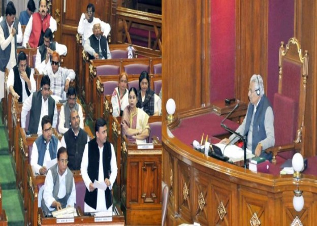 उत्तर प्रदेश के मुख्यमंत्री श्री अखिलेश यादव 08 फरवरी, 2016 को लखनऊ में विधान सभा सत्र के दौरान सदन को सम्बोधित करते हुए।