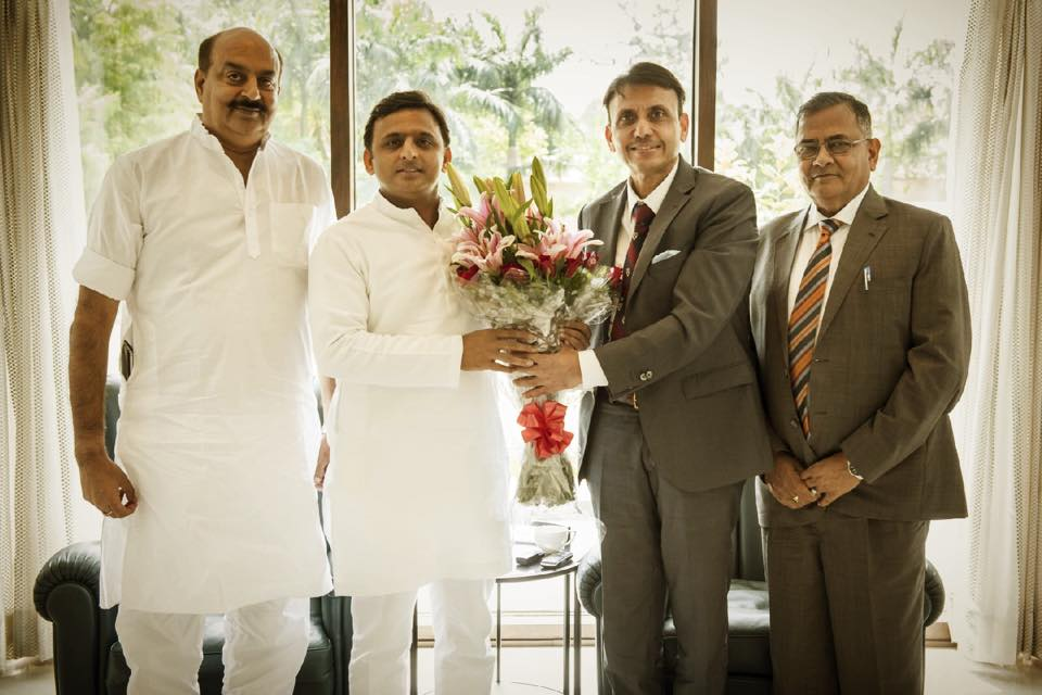 Akhilesh Yadav with Apurv Kumar, CEO, National US India Chamber of Commerce