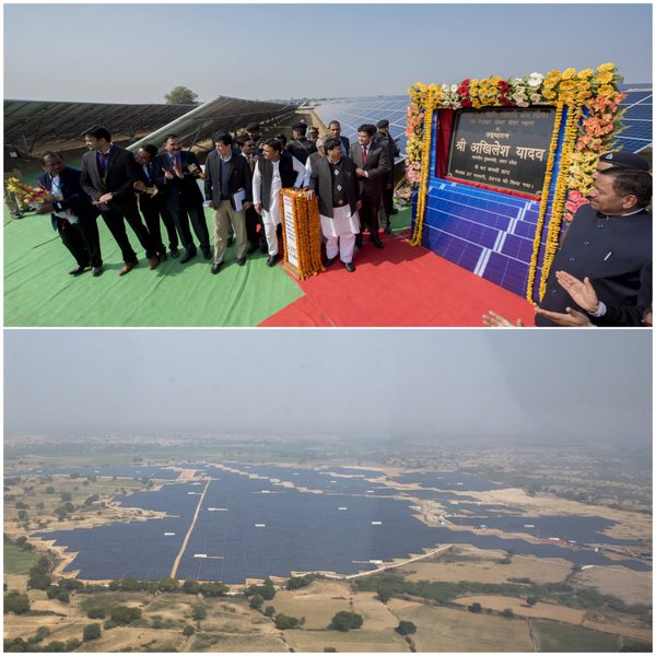 उत्तर प्रदेश के मुख्यमंत्री श्री अखिलेश यादव 27 जनवरी, 2016 को जनपद जालौन में विभिन्न विकास परियोजनाओं का शिलान्यास एवं लोकार्पण करते हुए।