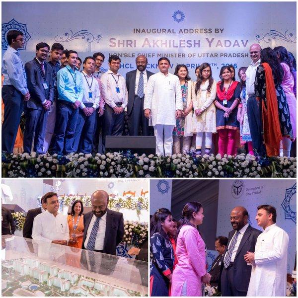 मुख्यमंत्री श्री अखिलेश यादव 13 अप्रैल, 2016 को आई0टी0 सिटी लखनऊ में एचसीएल कैम्पस के 150 प्रशिक्षणार्थियों के पहले बैच के साथ।