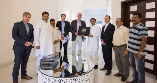 Chief Minister Akhilesh Yadav with Peter Stein (MP from Rostock, Germany)
