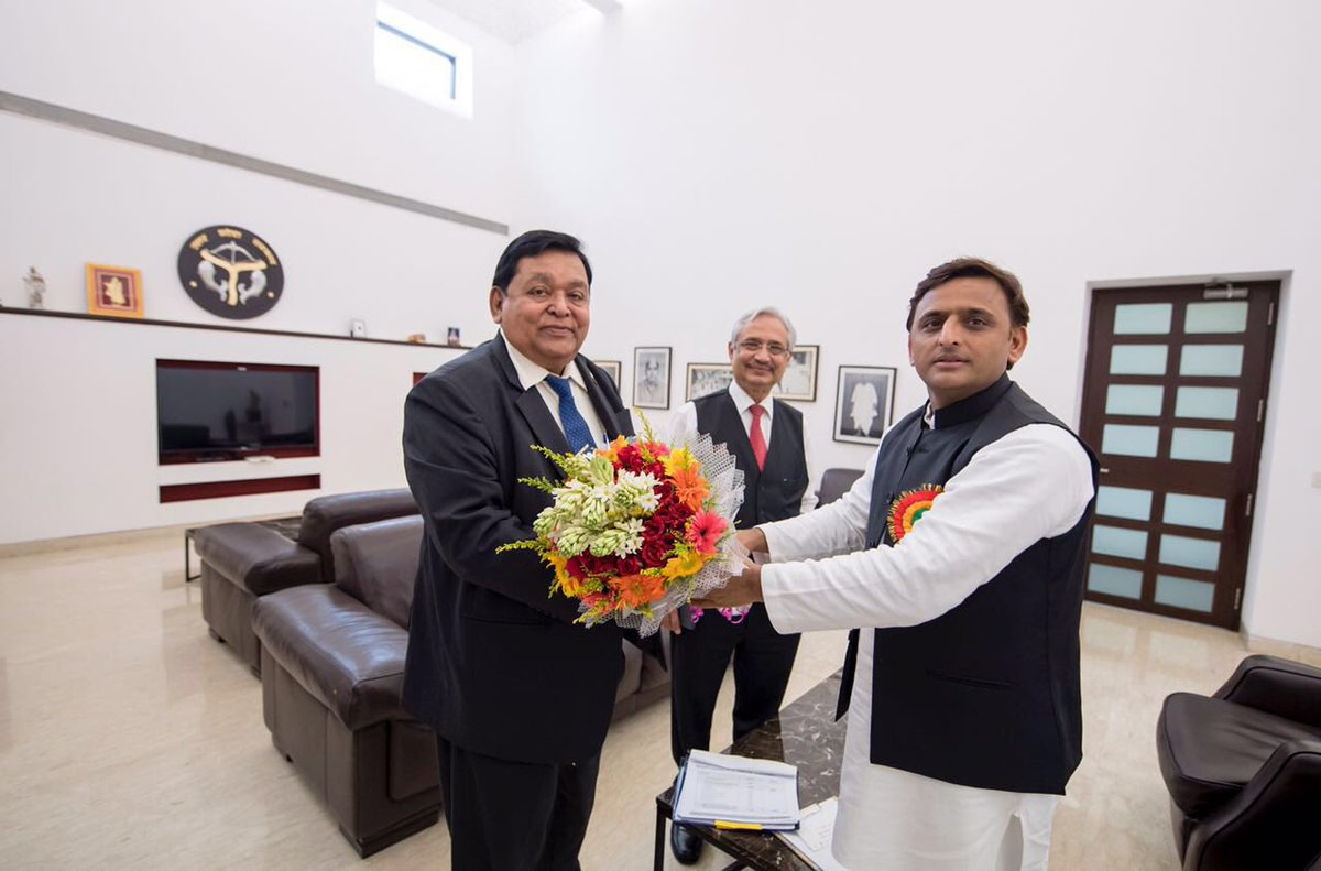 Chief Minister Akhilesh Yadav meets A.M. Naik, chairman of L & T