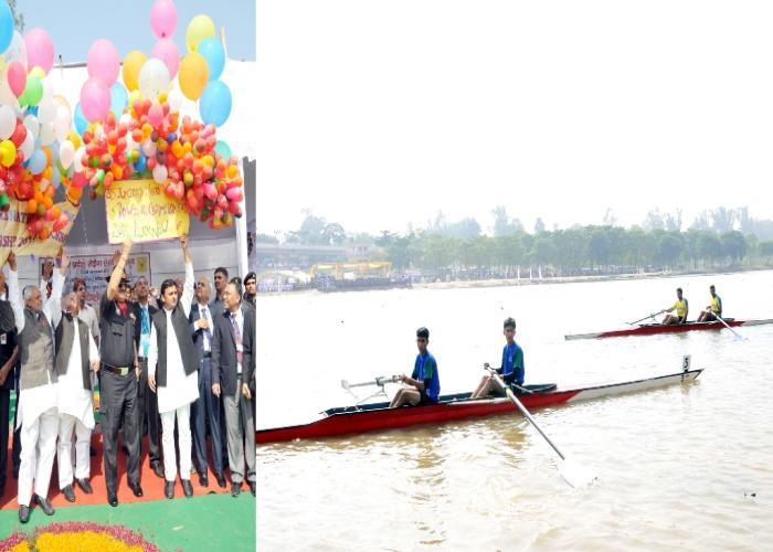 12 नवम्बर, 2014 को उत्तर प्रदेश के मुख्यमंत्री श्री अखिलेश यादव लखनऊ लखनऊ में गोमती तट पर 35वीं राष्ट्रीय जूनियर नौकायन चैम्पियनशिप के शुभारम्भ अवसर पर।