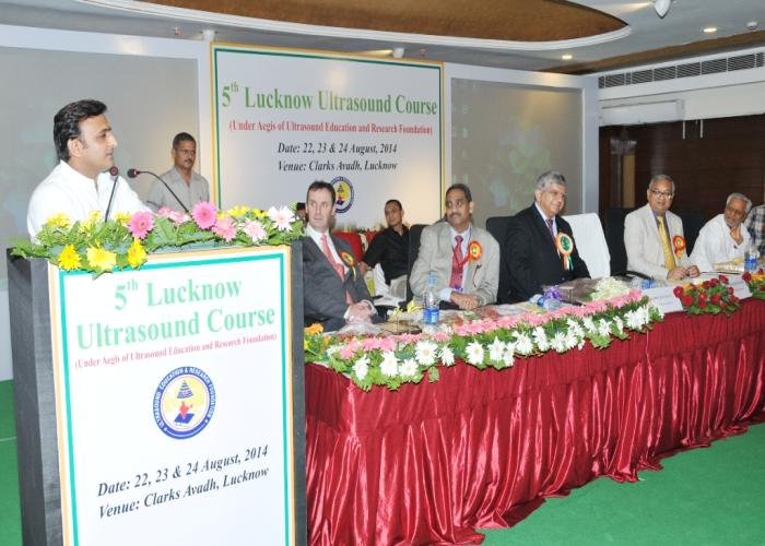 Chief Minister Mr. Akhilesh Yadav addresses doctors at the 5th Lucknow Ultrasound Course