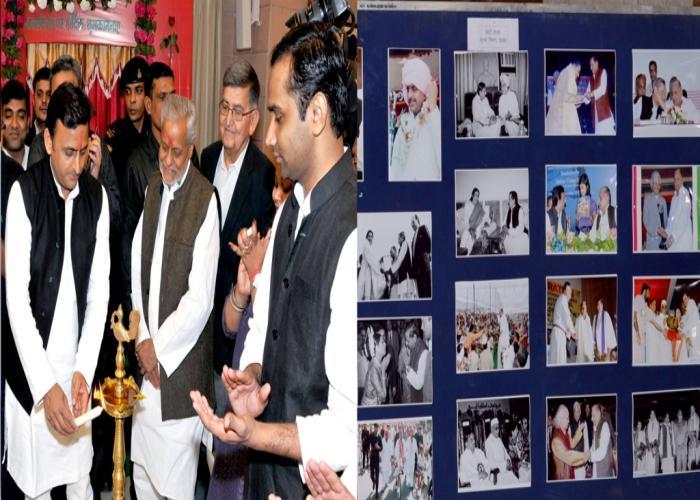मुख्यमंत्री श्री अखिलेश यादव 22 नवम्बर, 2015 को आयोजित फोटो प्रदर्शनी 'फर्श से अर्श तक' तथा 'समाजवादी विचारधारा और संघर्ष की गाथा' छायाचित्रों का अवलोकन करते हुए।